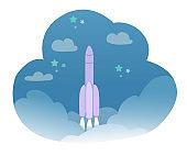 Rocket launch in starry sky among cloud kid dream