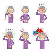 Painful grandmother's expression set