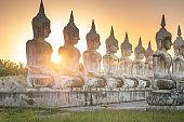 Group of Buddha statue  In Nakhon Si Thammarat Thailand