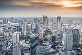 Narathiwas-Sathorn and sky-train station Chong Nonsi at downtown in CBD Sathorn , Silom , Asoke ,central of  Bangkok,Thailand