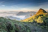 scenic view at phu chi fa and phu chi dao chiang rai nature landscape scenic sunrise at the north Thailand