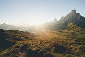 Sunrise Scenic over Famous Pass Giau Dolomites alps Italy landscape