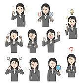 Female office worker facial expression illustration set