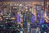 Panoramic view Cityscape business district at sapan taksin , silom , Sathorn and Chao Phraya river , Bangkok, Thailand) from aerial view high building at dusk