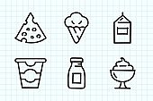 Dairy Product Doodle Drawing