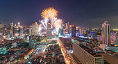 New year celebration firework at ratprarop district in india square are near baiyok area in central bangkok thailand