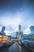 Panoramic view Cityscape business district ( Patunam , Central world , Bangkok, Thailand) building at dusk