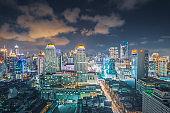 Panoramic view Cityscape business district (baiyok , Ratchaprarop , patunam  Bangkok, Thailand) aerial view highrise  building at dusk
