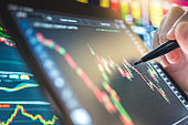 Financial advisor planning for disruption in business crisis and analysis stockmarket and cryptocurrency  for investment business for selective stock in digital tablet and mobile app trading