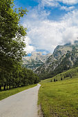 Hiking trail at Austrian Mountains in the Summer