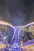 Sky-walk Narathiwas-Sathorn and sky-train station Chong Nonsi at downtown in CBD Sathorn , Silom , Asoke ,central of  Bangkok,Thailand