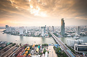 Cityscape view central business district capital of bangkok Thailand  from aerial at dusk (Bangkok, Thailand)