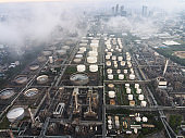 Cityscape of bangkok thailand south east asia and oil and gas petrochemical industrial Refinery and oil storage tank