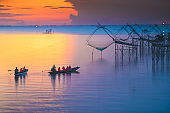 Sunrise at the fisherman village yokyor Pakpra Pattalung Thailand