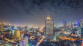 Panoramic view Cityscape business district ( silom , Sathorn , Bangrak ,Bangkok, Thailand at dusk