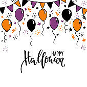 hand drawn doodle balloon, garland, flags. Happy halloween Creative calligraphy lettering. design for holiday greeting card and invitation, flyers, posters, banner halloween party holiday