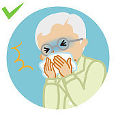Coughing senior man covered mouth by a handkerchief - circular icon, cartoon style