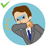 Coughing businessman covered mouth by arm - circular icon , cartoon style