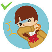 Coughing female student covered mouth by arm - circular icon , cartoon style