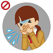 Coughing female student covered mouth by hands - circular icon , cartoon style