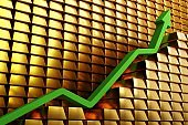 Gold prices soaring in a bullish market. Green arrow going up over gold bars. Concept digital 3D render.