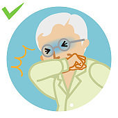Coughing senior man covered mouth by arm - circular icon , cartoon style