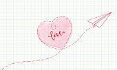 paper airplane is drawn on a sheet of paper. outlined heart sign with watercolor effect, and lettering love. design for greeting cards and invitations of wedding, birthday, Valentine s Day