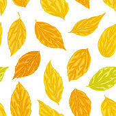 Beautiful seamless background with yellow, orange, green leaves. Hand-drawn with effect of drawing in watercolor. design background greeting cards and invitations seasonal autumn, fall holidays