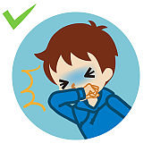 Coughing toddler boy covered mouth by arm - circular icon , cartoon style