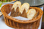 Black and white bread in a basket
