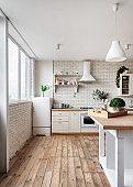 Kitchen at modern house with white interior design