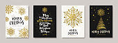 Christmas greeting card with glitter gold snowflakes, Christmas tree and holiday wishes. Set of Christmas posters. Vector illustration. Design for card, cover, flyer, poster, invitation.