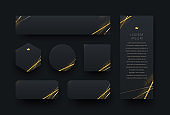 Set of different shape black banners with golden halftone and glitter gold elements. Luxury design banners.
