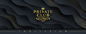 Private club - Glitter gold logo with crown and flourishes element  on a abstract layered black background with golden halftone.