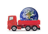 Red truck miniature with Planet Earth isolated on white background. Earth photo provided by Nasa.
