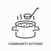 Canteen flat line icon. Vector outline illustration of community kitchen, food charity. Soup in saucepan with steam and ladle thin linear logo