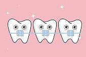 Cute  teeth with metal braces
