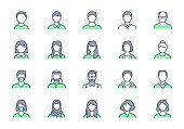 People avatar line icons. Vector illustration included icon as man, female, muslim, senior, adult and young human outline pictogram for user profile. Editable Stroke, Green Color