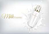 Vector cosmetic banner with white bottle in milk swirl