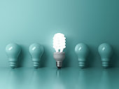 One glowing compact fluorescent lightbulb standing out from unlit incandescent bulbs on green background