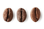 Coffee beans isolated on white background. Clipping path