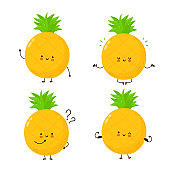 Cute happy funny pineapple fruit set
