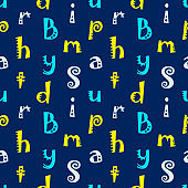 Colored letters on a blue background. Seamless pattern. Vector.