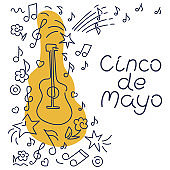 Cinco de Mayo, federal holiday in Mexico. May 5. Vector hand drawn lettering, Doodle background. Poster music concert, festival