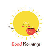 Cute happy funny sun with coffee mug