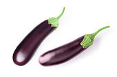 Two aubergine eggplant isolated on white background. Clipping Path. Top view