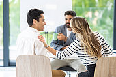 Shot of business people talking in an office Stock photo