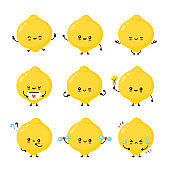 Cute happy funny lemon fruit set collection