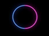 blue pink neon circle