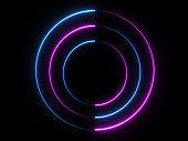 blue pink neon round frame